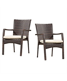 Wilkerson Outdoor Dining Chair with Cushion, Set of 2