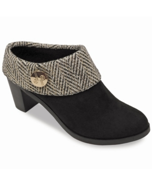 Cam Stacked Heel Suede cloth Mule Women's Shoes