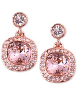 Givenchy Earrings Rose GoldTone Swarovski Light Pink Stone Drop
