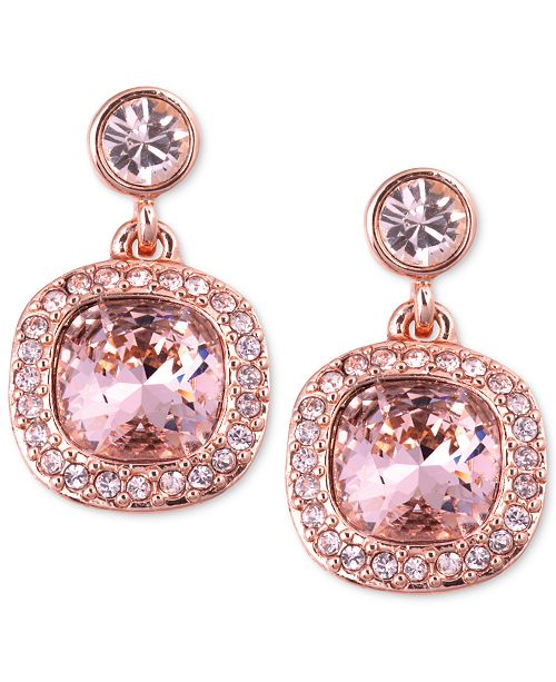 d019e4a14 Givenchy Earrings, Rose Gold-Tone Swarovski Light Pink Stone Drop Earrings