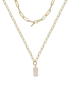 Linked Up Crystal Pendant Layered Women's Necklace Set