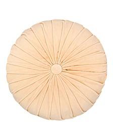 "Button Tufted 16"" Round Velvet Decorative Pillow"
