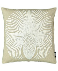 "Pineapple Embroidery 20"" Square Decorative Pillow"
