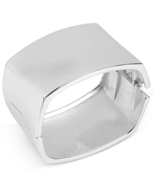 Robert Lee Morris Soho Bracelet, Silver-Tone Sculptural Square Hinged Bangle Bracelet