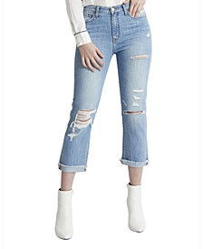 High Rise Cuffed Raw Hem Girlfriend Jeans