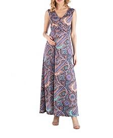 Empire Waist Paisley Maternity Maxi Dress