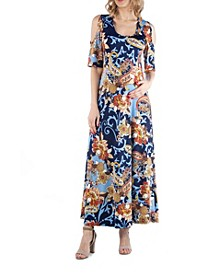 Open Shoulder Paisley Maternity Maxi Dress