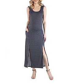 Maternity Polka Dot Sleeveless Slip Dress with Side Slits