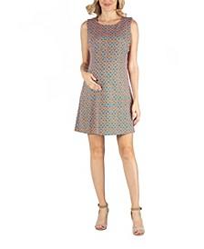 Sleeveless Maternity Shift Dress with Geometric Print Detail