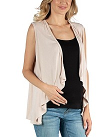 Sleeveless Open Front Maternity Cardigan Vest