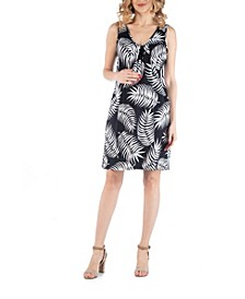 Botanical Print V Neck Maternity Dress with Pockets