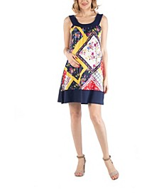 Multiprint Patchwork Sleeveless Maternity Dress