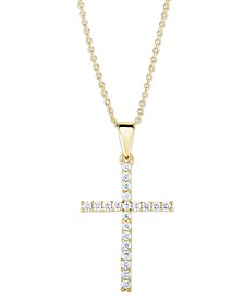 Cubic Zirconia Sleek Cross Pendant In Fine Silver Plate