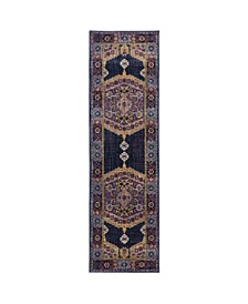 "Arcadia ARC01 Purple 2'3"" x 7'6"" Runner Rug"