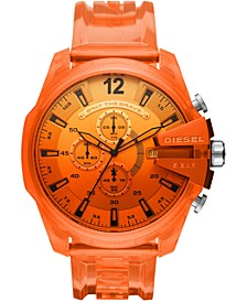 Men's Chronograph MegaChief Orange Transparent Polyurethane Strap Watch 51mm
