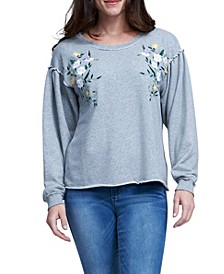Embroidered Puff Sleeve Sweatshirt