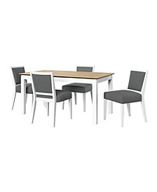 Weston 5 Piece Smart Top Dining Table and Upholstered Armless Dining Chairs