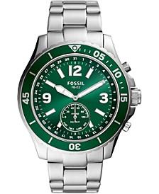 Men's Tech FB-02 Stainless Steel Bracelet Hybrid Smart Watch 48mm