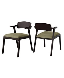 Millie Mid Century Modern Dining Arm Chair with Espresso Wood Seat Back Set of 2