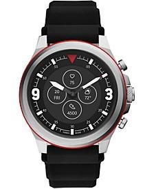 Men's Tech Latitude HR Black Silicone Strap Hybrid Smart Watch 48mm