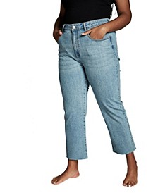 Trendy Plus Size Straight Stretch High Rise Jeans