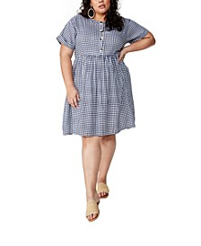 Curve Woven Button Front Dress