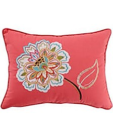 """Sophia 14"""" x 18"""" Appliqued Flower Embroidered Decorative Pillow"""