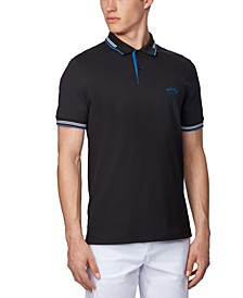BOSS Men's Paul Curved Black Polo Shirt