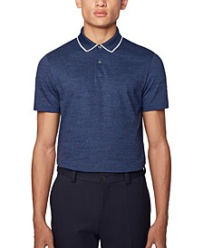 BOSS Men's Pitton 17 Open Blue Polo Shirt