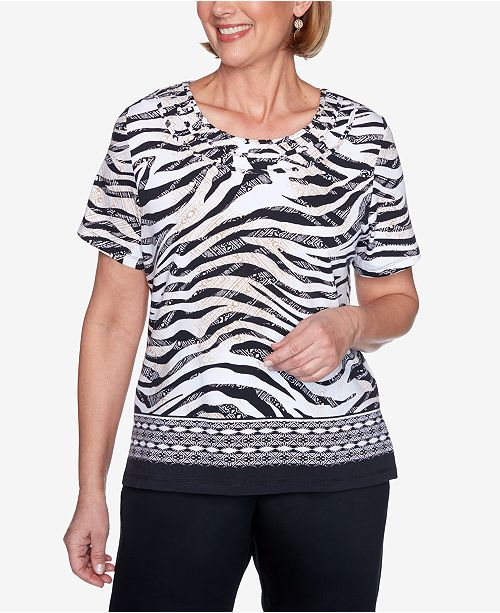 Alfred Dunner Petite Zanzibar Zebra-Print Knit Top