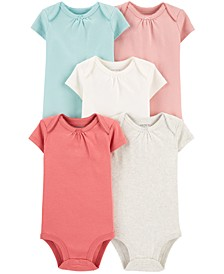 Baby Girls 5-Pk. Cotton Multi-Color Bodysuits