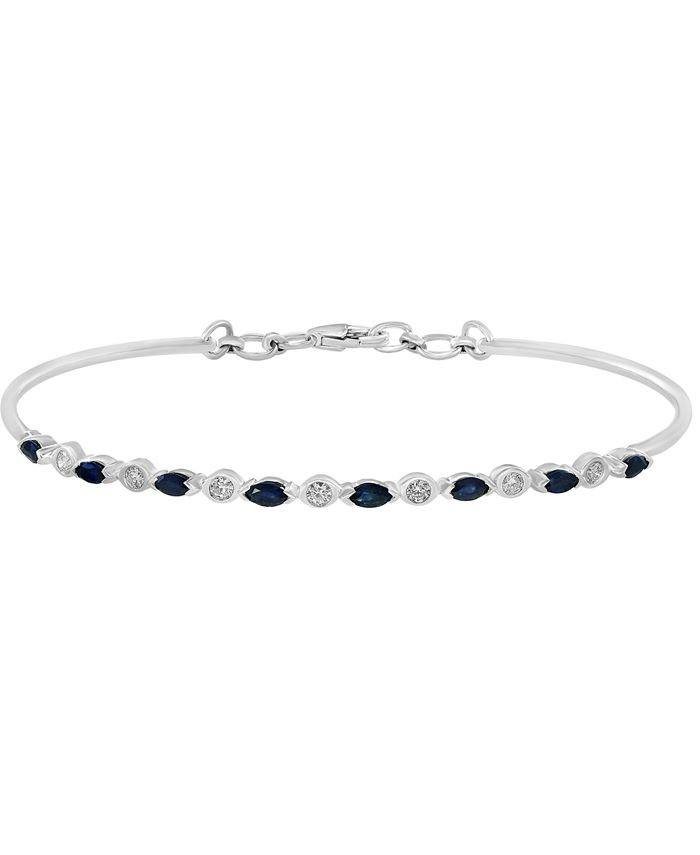 LALI Jewels - Sapphire (3/4 ct. t.w.) & Diamond (1/5 ct. t.w.) Tennis Bracelet in 14k White Gold