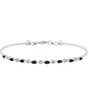 Sapphire (3/4 ct. t.w.) & Diamond (1/5 ct. t.w.) Tennis Bracelet in 14k White Gold