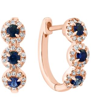 Sapphire (1/3 ct. t.w.) & Diamond (1/5 ct. t.w.) Oval Hoop Earrings in 14k Rose Gold