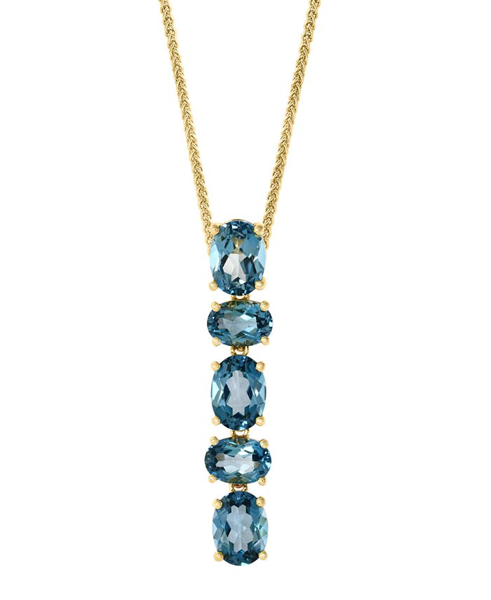 """LALI Jewels - London Blue Topaz Vertical 18"""" Pendant Necklace (6-3/8 ct. t.w.) in 14k Gold"""