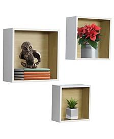 Floating Wood Box Shelves, Set of 3