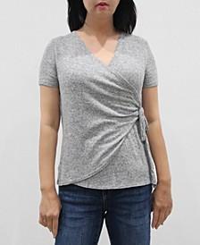 Women's Short Sleeve Wrap Side Tie Top