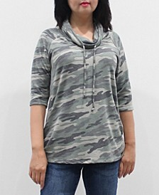 Women's Camo 3/4 Sleeve Cowl Neck Drawstring Top