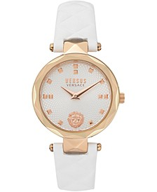 Women's Covent Garden Petite White Leather Strap Watch 32mm