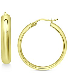 """Medium Polished Hoop Earrings in 18K Gold-Plated Sterling Silver, 1-3/8"""", Created for Macy's"""