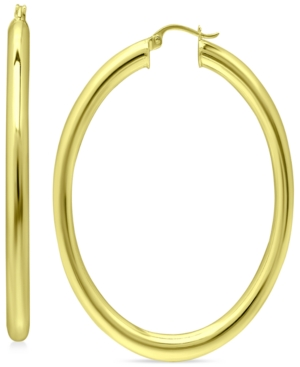 Oval Polished Hoop Earrings in 18k Gold-Plated Sterling Silver