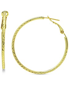 Twist Hoop Earrings in Sterling Silver or 18k Gold Plate Over Sterling Silver, 40mm, Created for Macy's