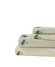 Palm Tree Grove Embroidered Sheet Set, Queen