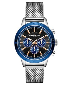Men's Multifunction Dual Time Two-Tone plated Stainless Steel Watch on Silver-tone Stainless Steel Mesh Bracelet, 44mm