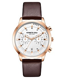 Men's Multifunction Dual Time Rose-Gold plated Stainless Steel Watch on Brown Genuine Leather Strap, 44mm