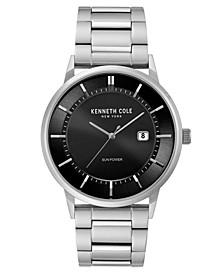 Men's  Solar Silver-tone Stainless Steel Watch on Silver-tone Stainless Steel Bracelet, 42mm