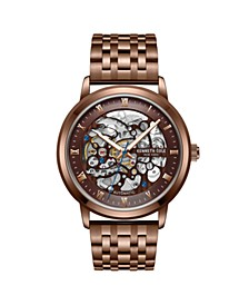 Men's  Brown plated Stainless Steel Watch on Brown plated Stainless Steel Bracelet, 43mm