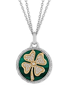 "Malachite and Diamond (1/10 ct. t.w.) Clover Disc Luck pendant in Sterling Silver & 14k Gold, 16"" + 2"" extender"