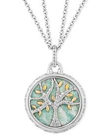 "Amazonite & Diamond (1/10 ct. t.w.) Family Tree Strength pendant in Sterling Silver & 14k Gold, 16"" + 2"" extender"