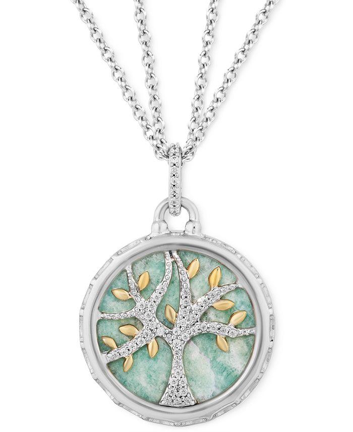 "Hallmark Diamonds - Amazonite & Diamond (1/10 ct. t.w.) Family Tree Pendant Necklace in Sterling Silver & 14k Gold, 16"" + 2"" extender"